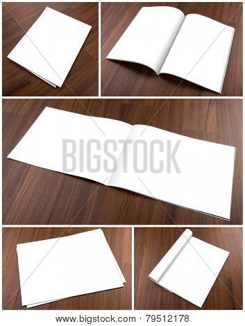 Collection of  Blank catalog,brochure, magazines,book mock up on wood background