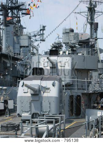 Gun turrets on a battleship