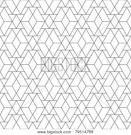 Black And White Geometric Seamless Pattern With Triangle And Trapezoid