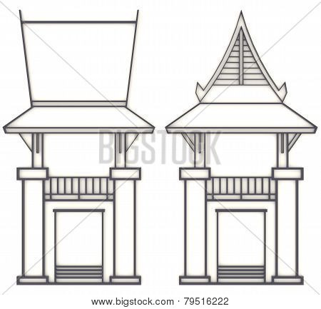 3D Evelation Drawing Of South-east Asian Pavilion Or Temple In Front And Side View