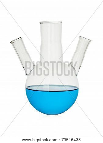 Blue Chemical Liquid In Medical Flask, Retort Isolated On White Background
