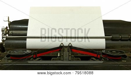 Empty Sheet In Old Style Typewriter (isolated)
