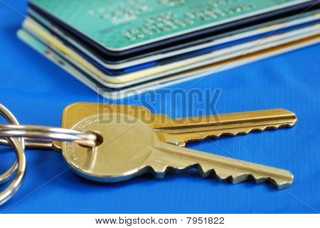 Obtain the credit to buy real estate isolated on blue