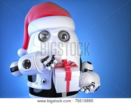 Robot Santa With Christmas Gift Box. Christmas Concept. Contains Clipping Path