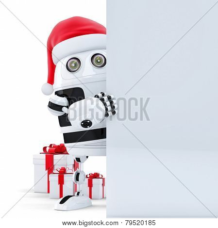 3D Robot Claus Holding Blank Banner