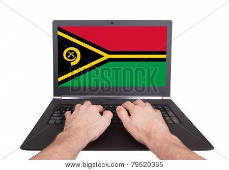Hands Working On Laptop, Vanuatu