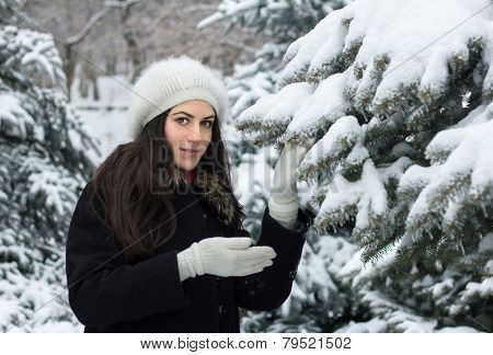 Beauty Woman In Snowy Weather
