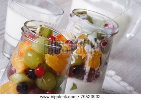 Pieces Of Fresh Fruit In A Glass Jar And Yogurt Horizontal