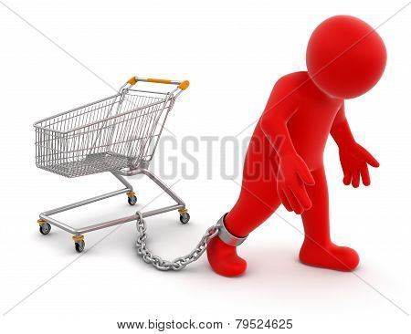 Man and Shopping Cart (clipping path included)