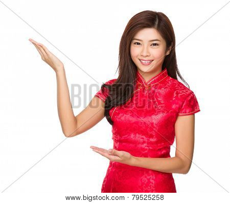 Chinese woman with two open hand palm