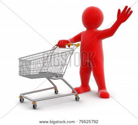 Man And Shopping Cart