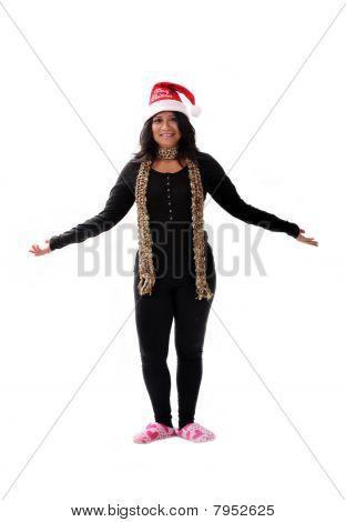 cute Latina Mädchen in ein Nikolausmütze