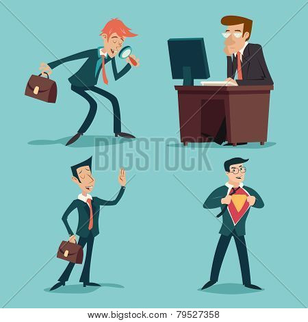 Vintage Businessman Characters Set Icon on Stylish Background Retro Cartoon Design Vector Illustrati
