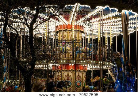 Carousel Lighted On The Night Of The City