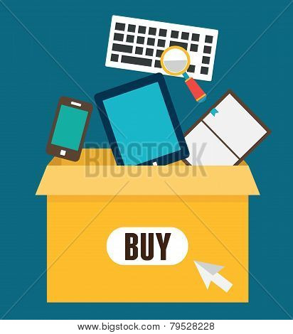 Vector Flat Illustration Of Online Shopping. Add To Box, Order And Payment