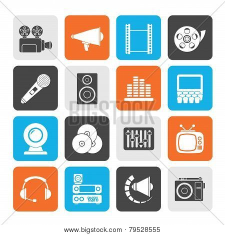 Silhouette Audio and video icons