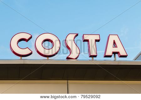 Manchester, Uk - January 5Th 2015: Costa Coffee Signs - One Of The Uk's Most Successful Coffee House