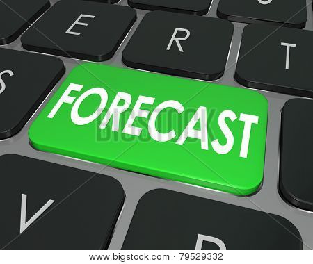 Forecast word on a computer keyboard button to illustrate future business projection or estimate for earnings to come