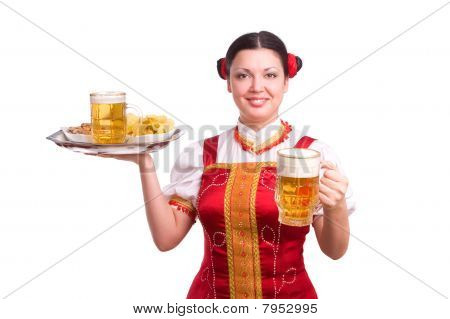 German/bavarian Woman With Beer