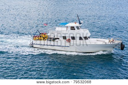 White Dive Ship In Blue Water