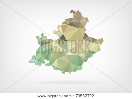 DruckLow Poly map of french region Provence-Alpes-Cote dAzur