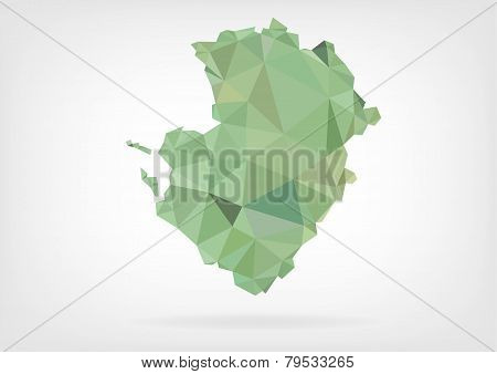 Low Poly map of french region Poitou-Charentes