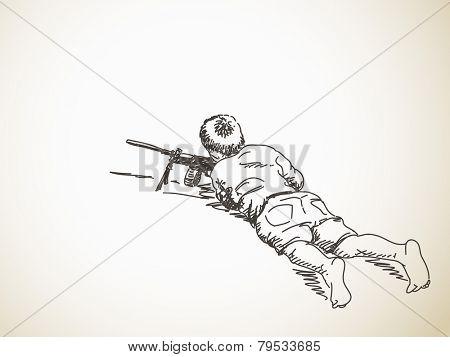 Sketch of boy playing war with machine gun, Hand drawn Vector illustration
