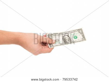 Dollar bill in hand