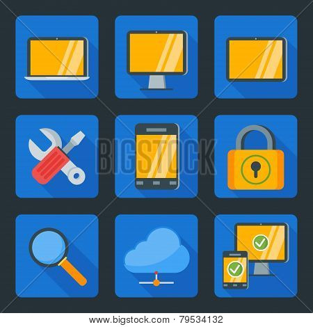 Flat Style Icon Set For Web And Mobile Application. Computer And Technology