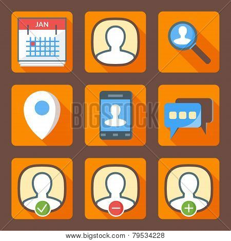 Flat Style Icon Set For Web And Mobile Application. Basic Icons, Users, Profile, Location, Message