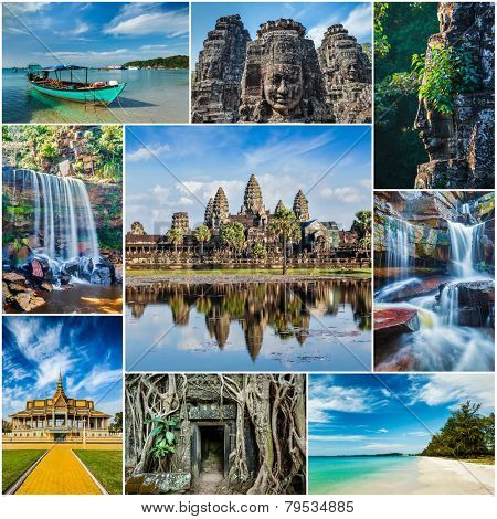 Mosaic collage storyboard of Cambodia travel images of tourist landmarks