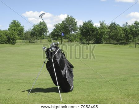 Golfbag perto de verde