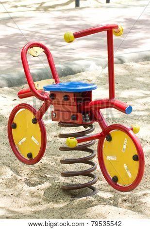 Rocking Horse At Playground.