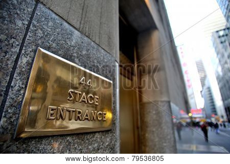 NEW YORK CITY - TUESDAY, DEC. 30, 2014: The stage door of Radio City Music Hall. Radio City is an art deco designed entertainment venue located in Rockefeller Center in New York City