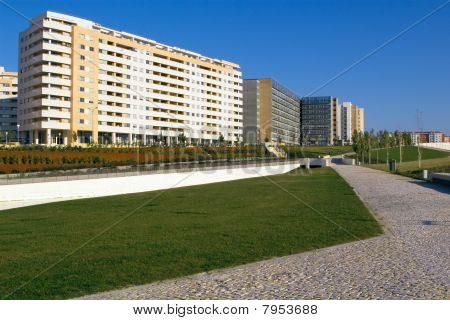 Apartment buildings and park
