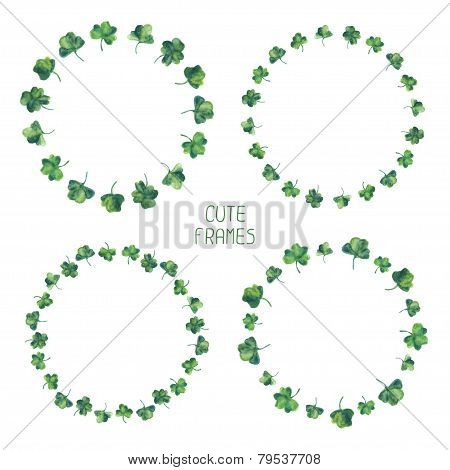 Frame set of watercolor green clover leaves for Saint Patrick day. Vector illustration. Background f