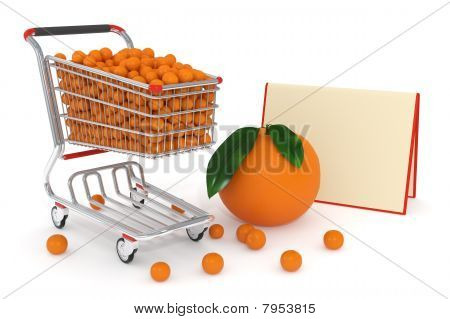 Shopping Cart Full Of Oranges
