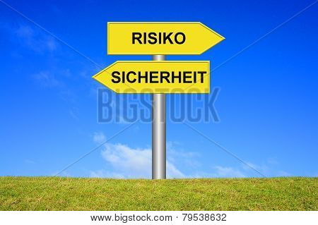 Sign showing risk or security