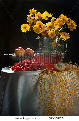 Raspberry, Peaches And Bouquet From Yellow Camomiles