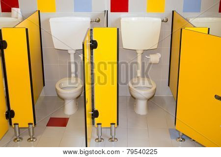 Small Bathroom Of A School For Children With Water Closet
