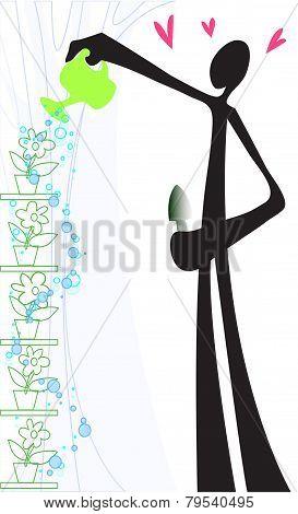 Shadow Man Watering Flower.eps