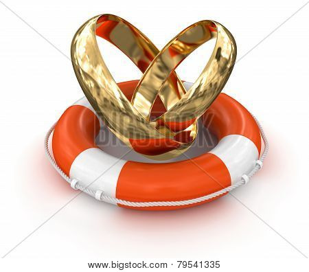 Gold rings and Lifebuoy (clipping path included)