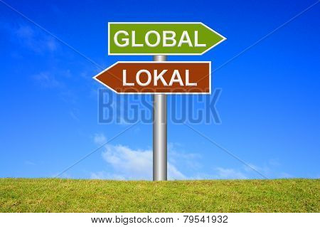 Sign showing global or local