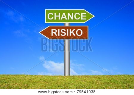 Sign showing chance or risk