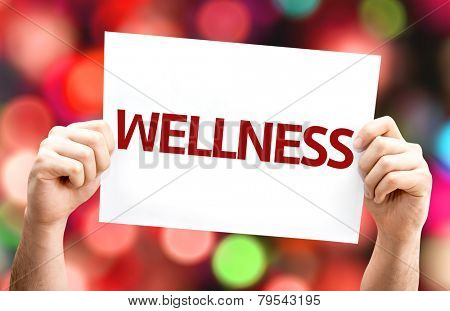 Wellness card with colorful background with defocused lights