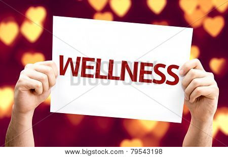 Wellness card with heart bokeh background