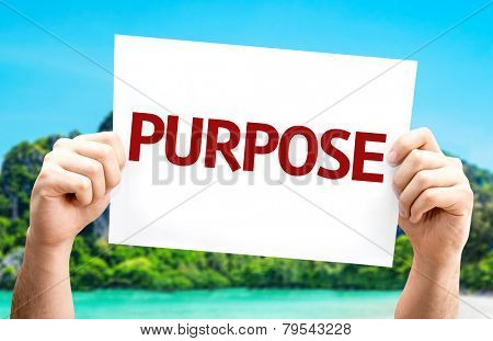 Purpose card with a beach on background
