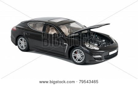 Black Car Porsche Panamera Turbo With Open Hood