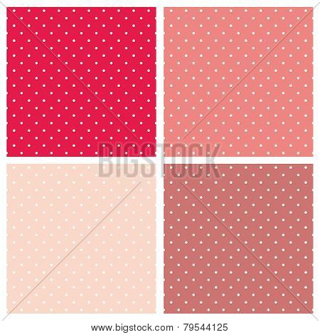 White polka dots on pink vector background set. Sweet retro fabric tile pattern collection