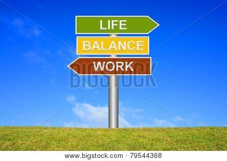 Sign showing work life balance